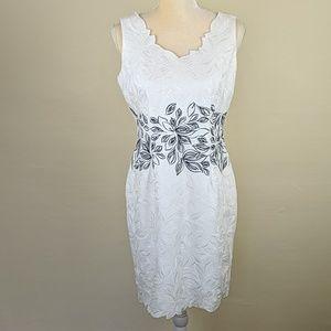 Antonio Melani Embroidered B & W Sheath Dress